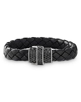 David Yurman - Woven Black Leather Bracelet with Pavé Black Diamonds