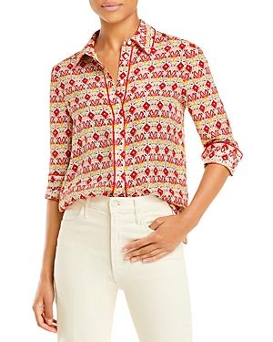 Printed Button Front Silk Shirt