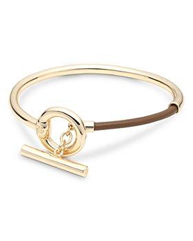 Ralph Lauren - Leather Bangle Bracelet in Gold Tone