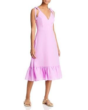 Ruffled V Neck Midi Dress