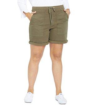 NYDJ Plus - Drawstring Cargo Shorts in Stretch Twill