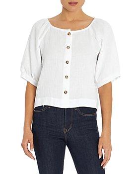 Three Dots - Gauze Puff Sleeve Cotton Top