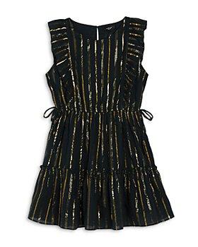 AQUA - Girls' Metallic Striped Ruffle Dress, Big Kid - 100% Exclusive