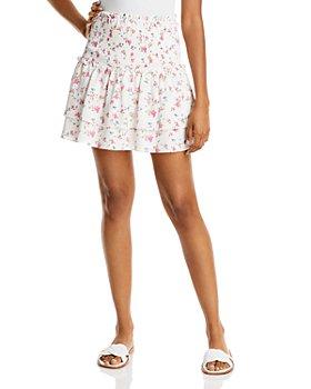 AQUA - Ditsy Floral Smocked Mini Skirt - 100% Exclusive