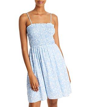 AQUA - Ditsy Floral Smocked Dress - 100% Exclusive