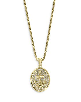 Bloomingdale's - Men's Diamond Anchor Medallion Pendant Necklace in 14K Yellow Gold, 0.60 ct. t.w. - 100% Exclusive
