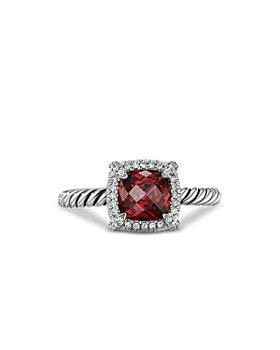 David Yurman - Sterling Silver Petite Chatelaine® Ring with Garnet & Diamonds - 100% Exclusive