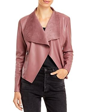 Draped Faux Leather Jacket