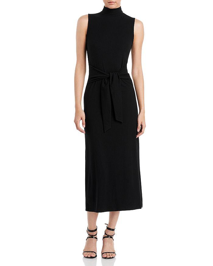 AQUA - Mock Neck Tie Waist Ribbed Dress - 100% Exclusive