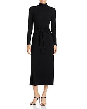 AQUA - Mock Neck Tie Waist Long Sleeved Ribbed Dress - 100% Exclusive