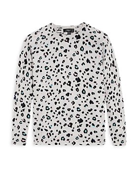 AQUA - Girls' Cashmere Leopard Sweater, Big Kid - 100% Exclusive