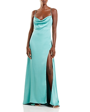 Fame And Partners The Rosabel Cowl Neck Gown In Oil Blue