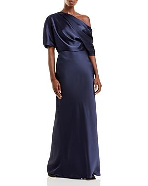 Amsale Draped Satin One Shoulder Dress
