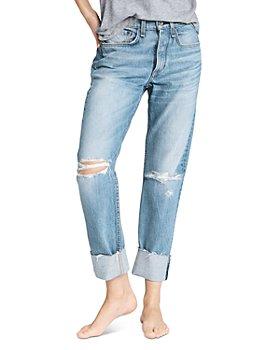 rag & bone - Rosa Mid Rise Boyfriend Jeans in Jones With Holes