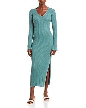 SABLYN - V Neck Ribbed Cashmere Midi Dress