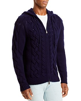 The Men's Store at Bloomingdale's - Wool & Cashmere Cable Knit Full Zip Hoodie, 100% Exclusive