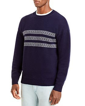 The Men's Store at Bloomingdale's - Wool & Cashmere Greek Key Stripe Crewneck Sweater, 100% Exclusive