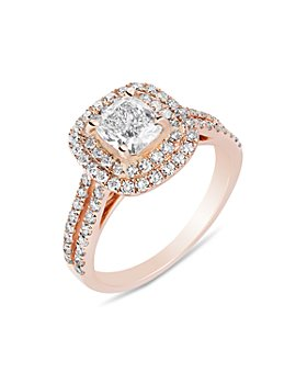 Bloomingdale's - Certified Cushion Cut Diamond Halo Ring in 18K Rose Gold, 2.0 ct. t.w. - 100% Exclusive