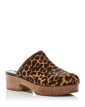 AQUA - Women's Leopard Print Calf Hair Clogs - 100% Exclusive