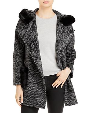 Herringbone Faux Fur Coat