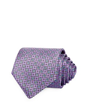 The Men's Store at Bloomingdale's - Floral Grid Silk Classic Tie - 100% Exclusive