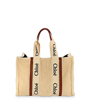 Chloé - Woody Leather Trimmed Large Shearling Tote