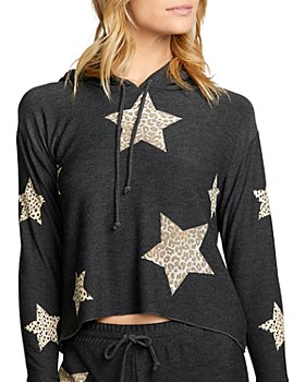 CHASER - Animal Print Star Cropped Hoodie