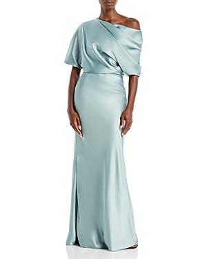 Draped Satin One Shoulder Dress