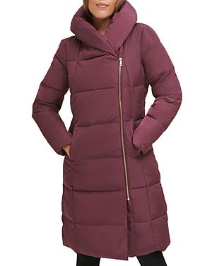 Hooded Asymmetric Zip Puffer Coat