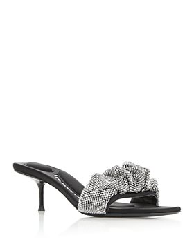 Alexander Wang - Women's Jessie Embellished Scrunchie Kitten Heel Slide Sandals
