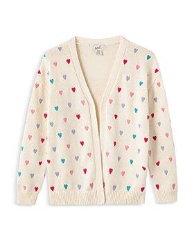 Peek Kids - Girls' Cotton Embroidered Hearts Button Cardigan - Little Kid, Big Kid