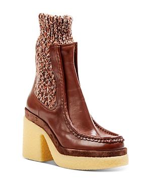 Chloe Women's Jamie Leather & Knit Chelsea Boots