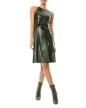 Leandra Faux Leather Fit-and-Flare Dress