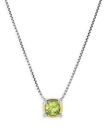 """David Yurman - Sterling Silver Petite Chatelaine® Peridot & Diamond Pendant Necklace with 18K Yellow Gold, 18"""""""