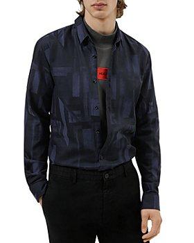 HUGO - Ero3-W Cotton Abstract Geo Print Extra Slim Fit Button Down Shirt