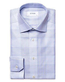 Eton - Cotton Textured Twill Check Contemporary Fit Dress Shirt