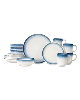 BAUM BROTHERS - Perri Blue 16 Piece Dinnerware Set, Service for Four