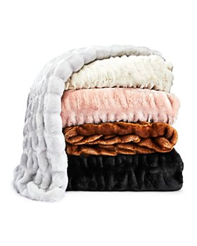 Hudson Park Collection - Textured Faux Fur Throw - 100% Bloomingdale's Exclusive