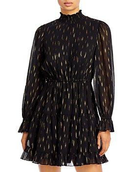 AQUA - Mock Neck Ruffled Dress - 100% Exclusive