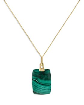 """Bloomingdale's - Malachite Pendant Necklace in 14K Yellow Gold,  18"""" - 100% Exclusive"""
