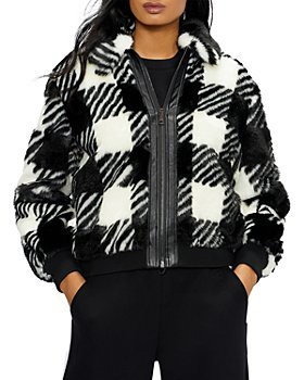 Ted Baker - Faux Fur Checkered Jacket