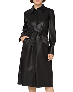 Faux Leather Puff Sleeve Dress (42% off)