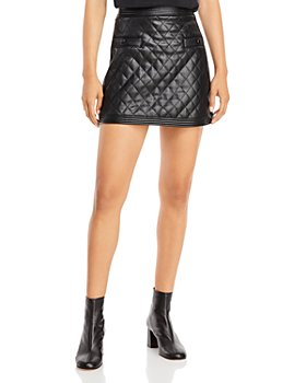 AQUA - Faux Leather Quilted Mini Skirt