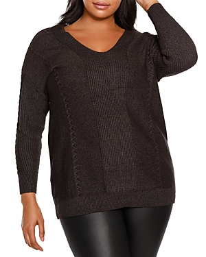 V Neck Cable Sweater