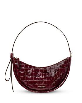 kate spade new york - Smile Croc Embossed Leather Small Crescent Shoulder Bag
