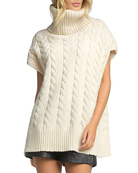 Elan - Turtleneck Cable Knit Sleeveless Sweater