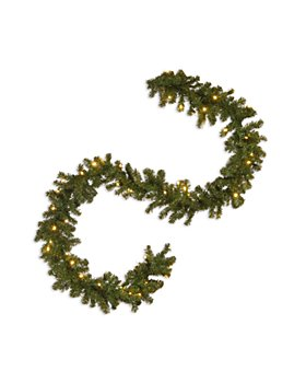 """National Tree Company - 9' x 10"""" North Valley Spruce Garland with 50 Clear Lights"""