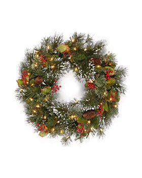 National Tree Company - Wintry Pine Wreath with Cones, Red Berries, Snow and Clear Lights
