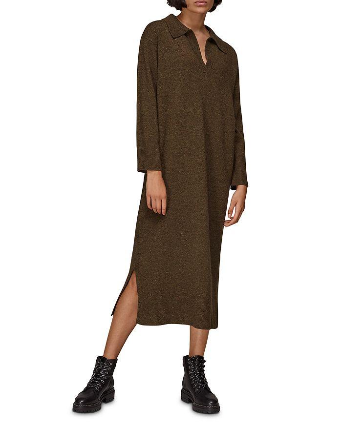 Whistles - Collared Knit Midi Dress