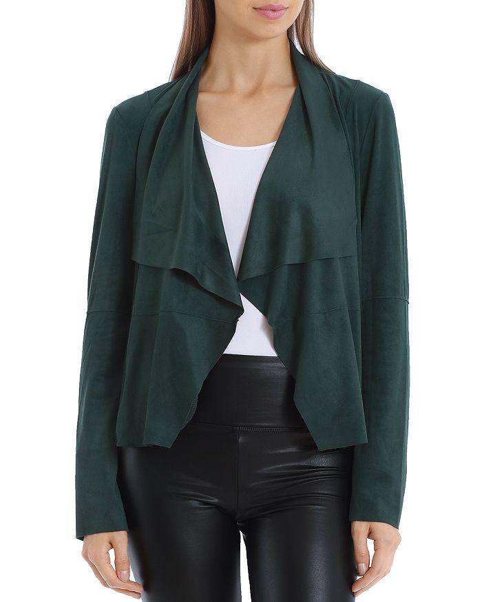 Bagatelle Faux-suede Drape-front Jacket In Emerald